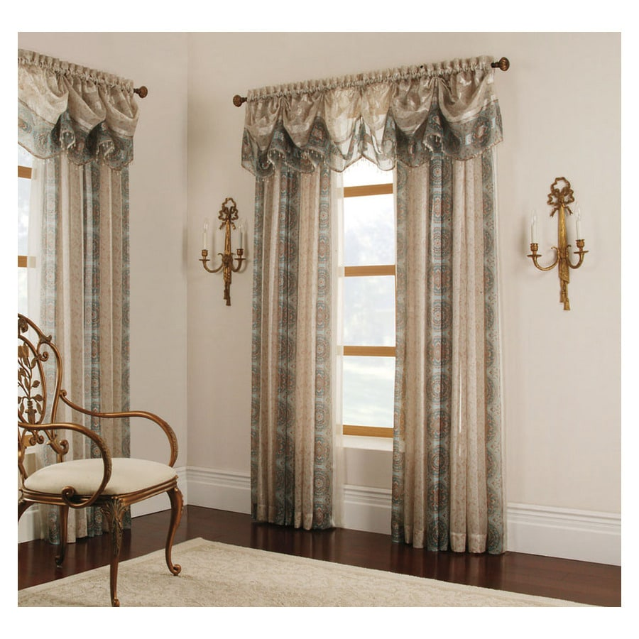 allen + roth Cheshire 95-in Mist Polyester Rod Pocket Sheer Single Curtain Panel