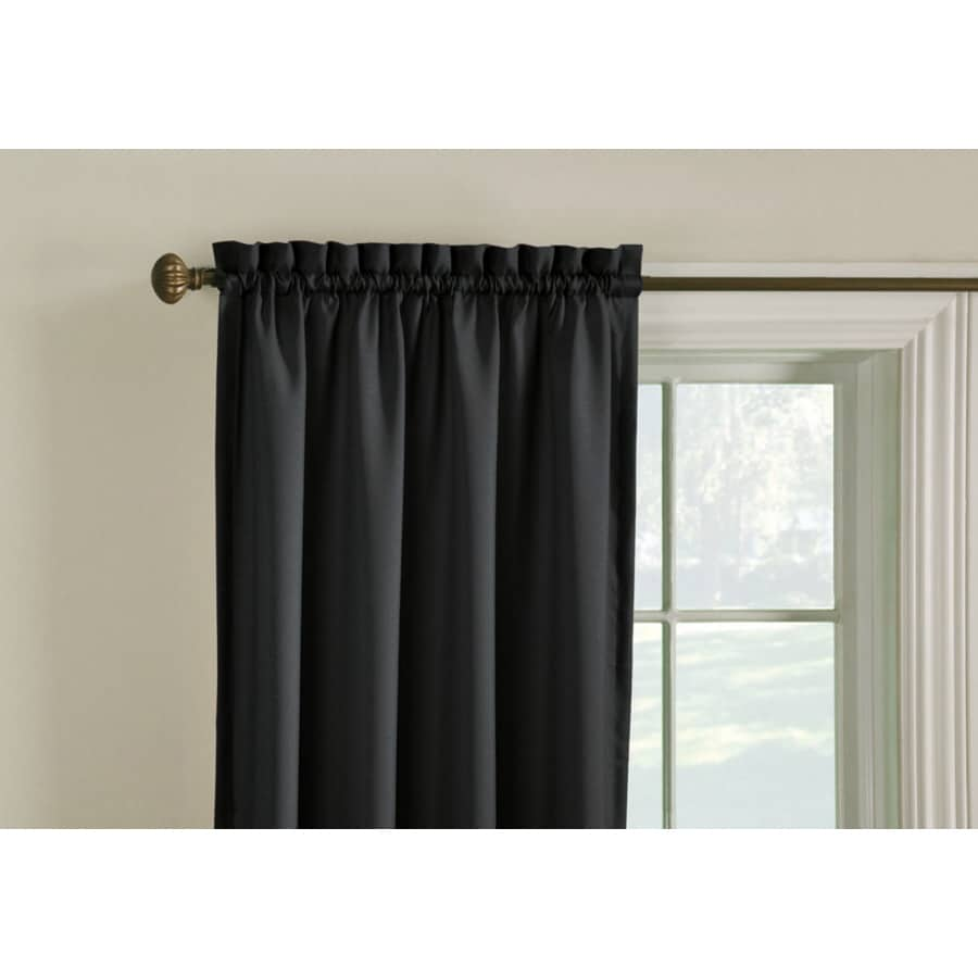 Style Selections Walker 63-in Black Polyester Rod Pocket Room Darkening Single Curtain Panel
