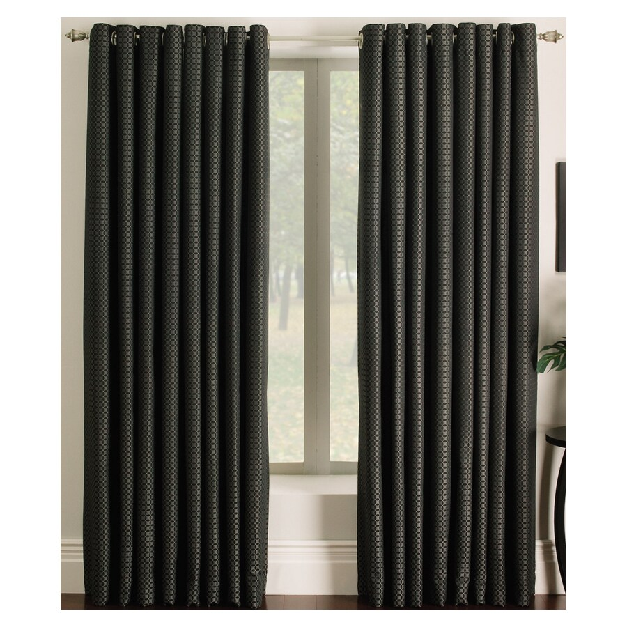allen + roth Sullivan 63-in Black Polyester Grommet Light Filtering Single Curtain Panel