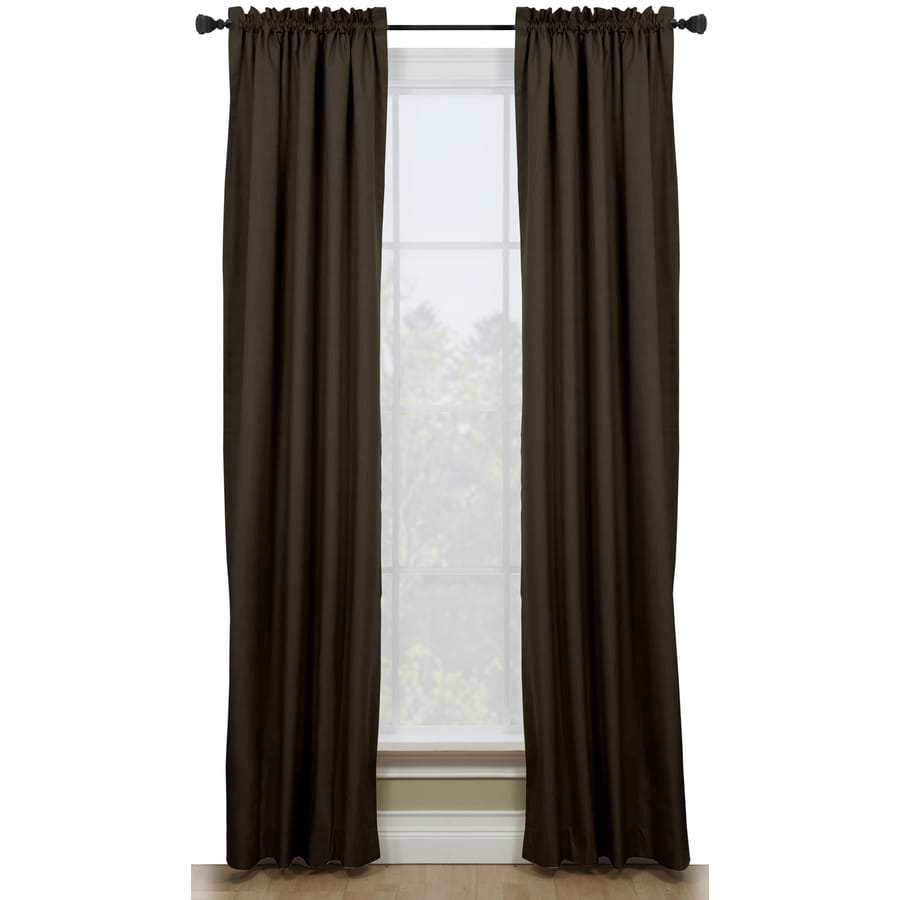 Style Selections Walker 63-in Chocolate Polyester Rod Pocket Room Darkening Thermal Lined Single Curtain Panel