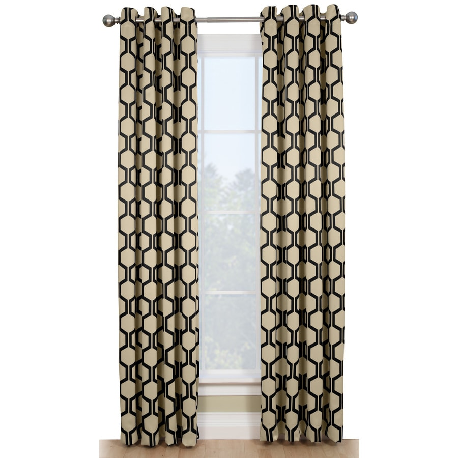 Style Selections Quinn 84-in Onyx/Ivory Polyester Grommet Room Darkening Thermal Lined Single Curtain Panel