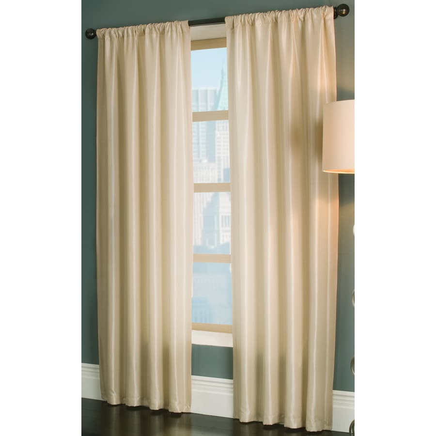 allen + roth Florence 63-in Cream Polyester Rod Pocket Light Filtering Single Curtain Panel