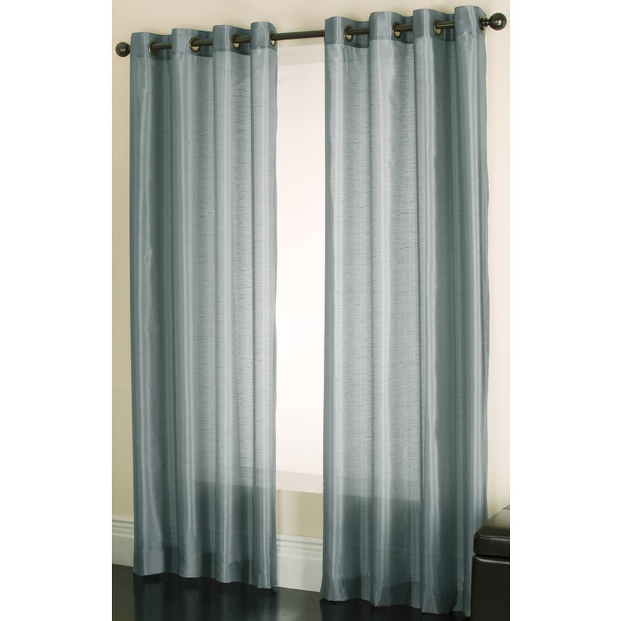 allen + roth Edistone 63-in Blue Polyester Grommet Light Filtering Sheer