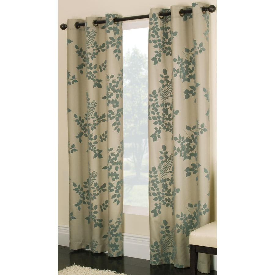 Attractive Allen + Roth Waterbury 84 In Blue Cotton Grommet Light Filtering Single  Curtain Panel