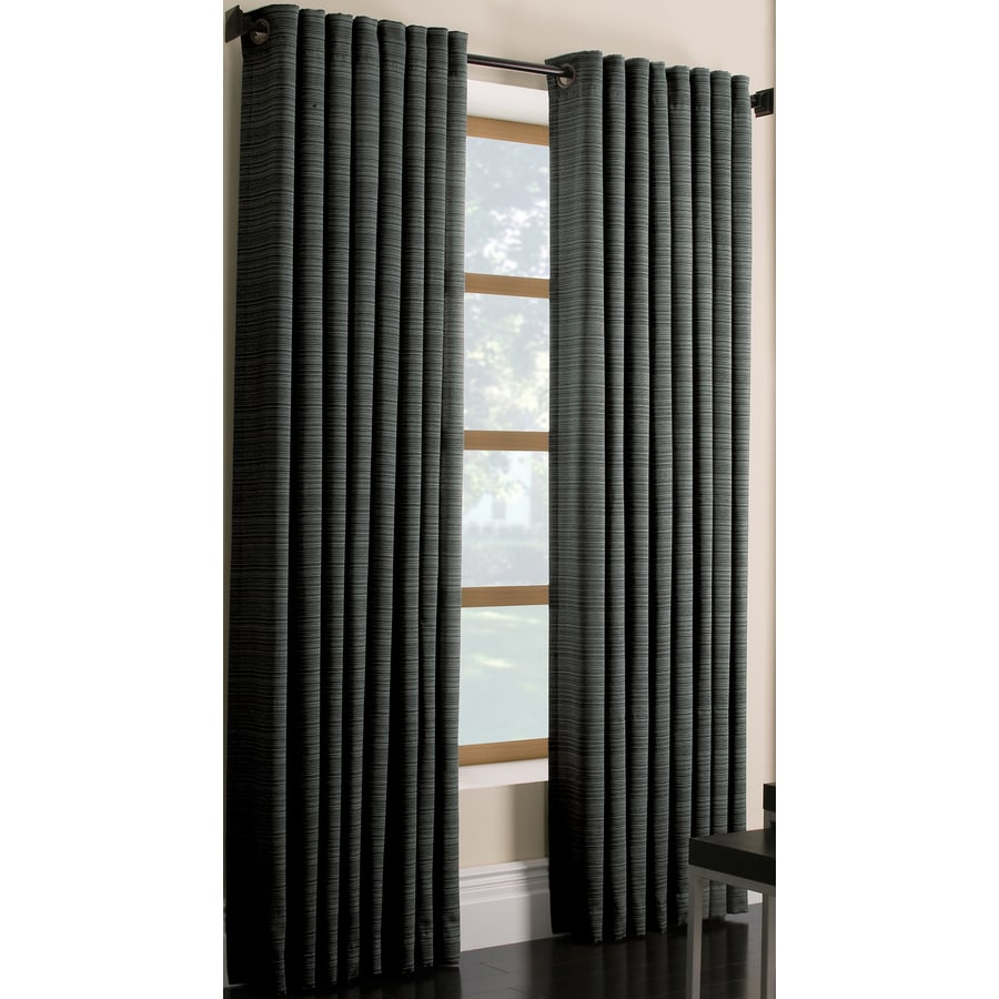 Style Selections Marsden 84-in Charcoal Polyester Grommet Single Curtain Panel