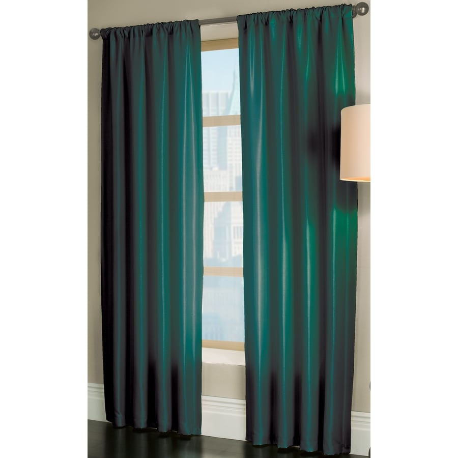 Light teal curtains - Allen Roth Florence 84 In L Solid Teal Rod Pocket Window Curtain Panel