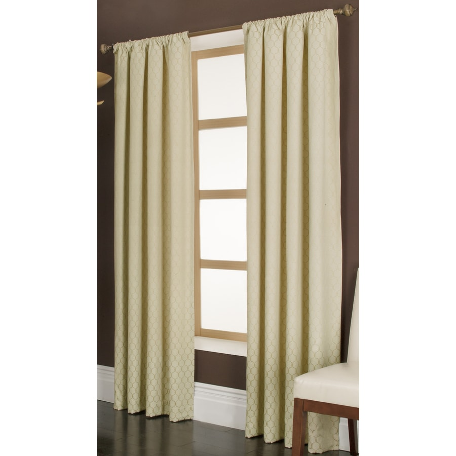 allen + roth Parksley 84-in Gold Cotton Rod Pocket Light Filtering Single Curtain Panel