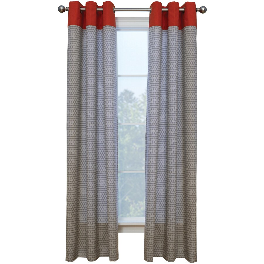 Style Selections Dorsey 84-in Stone/Coral Polyester Grommet Single Curtain Panel