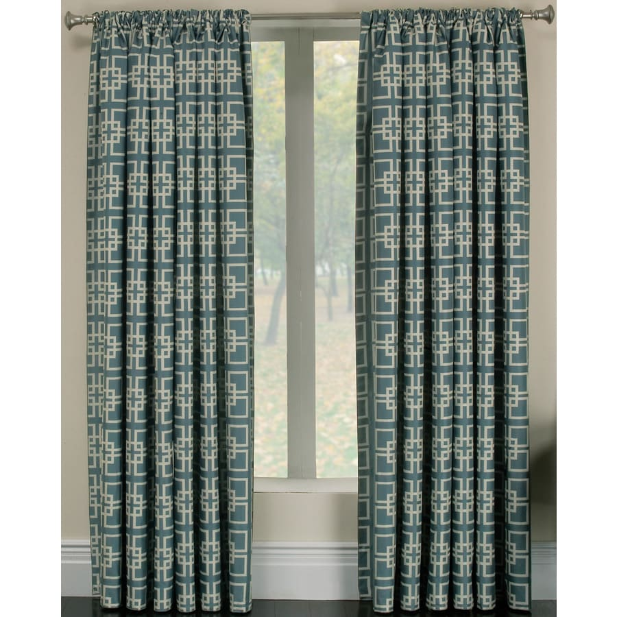 allen + roth Callendale 84-in Blue Polyester Rod Pocket Light Filtering Curtain Panel Pair