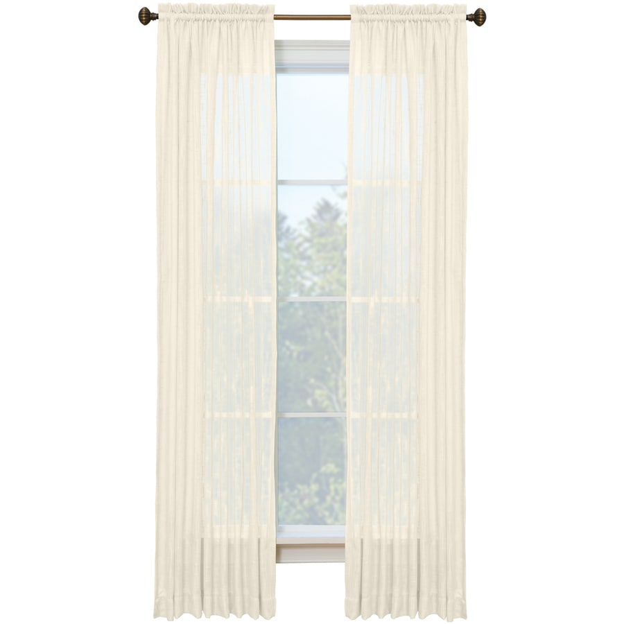 Style Selections Kenna 84-in Ivory Polyester Rod Pocket Semi-sheer Single Curtain Panel