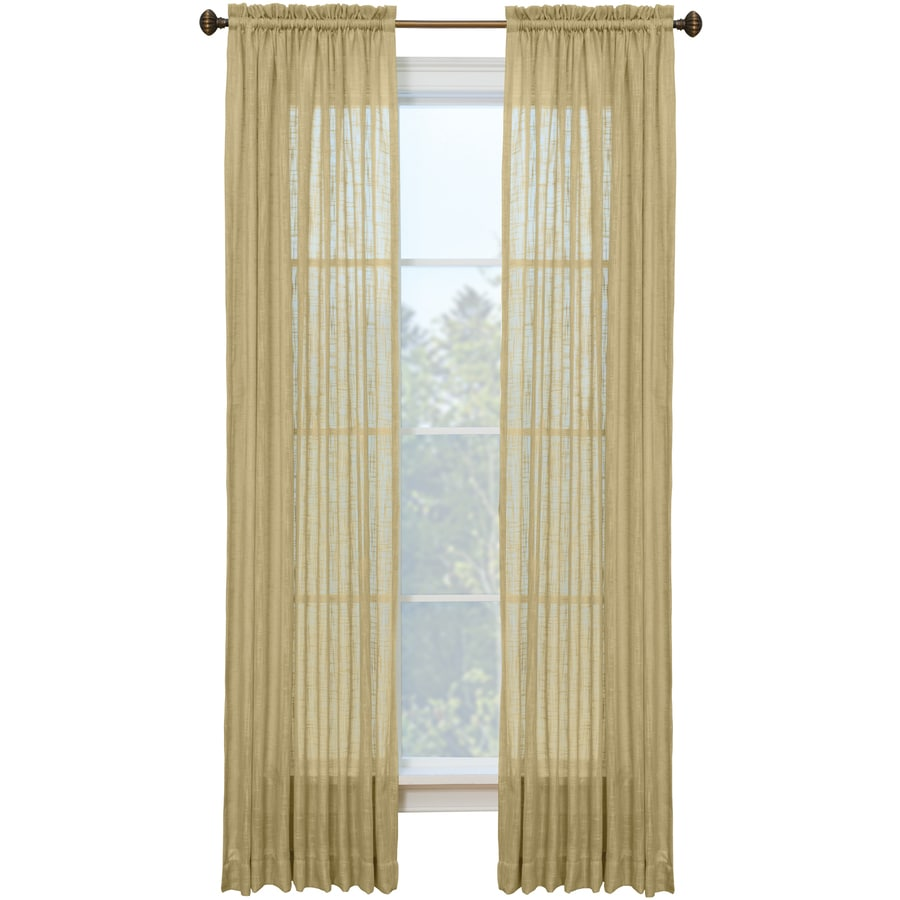 Style Selections Kenna 84-in Sand Polyester Rod Pocket Semi-sheer Single Curtain Panel