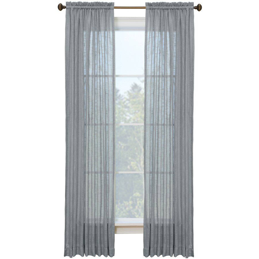 Style Selections Kenna 84-in Coal Polyester Rod Pocket Semi-sheer Single Curtain Panel