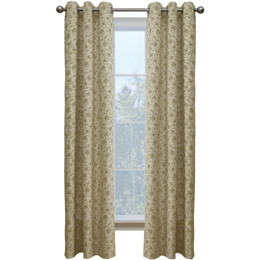 Style Selections Juliette 84-in Sand Cotton Grommet Single Curtain Panel