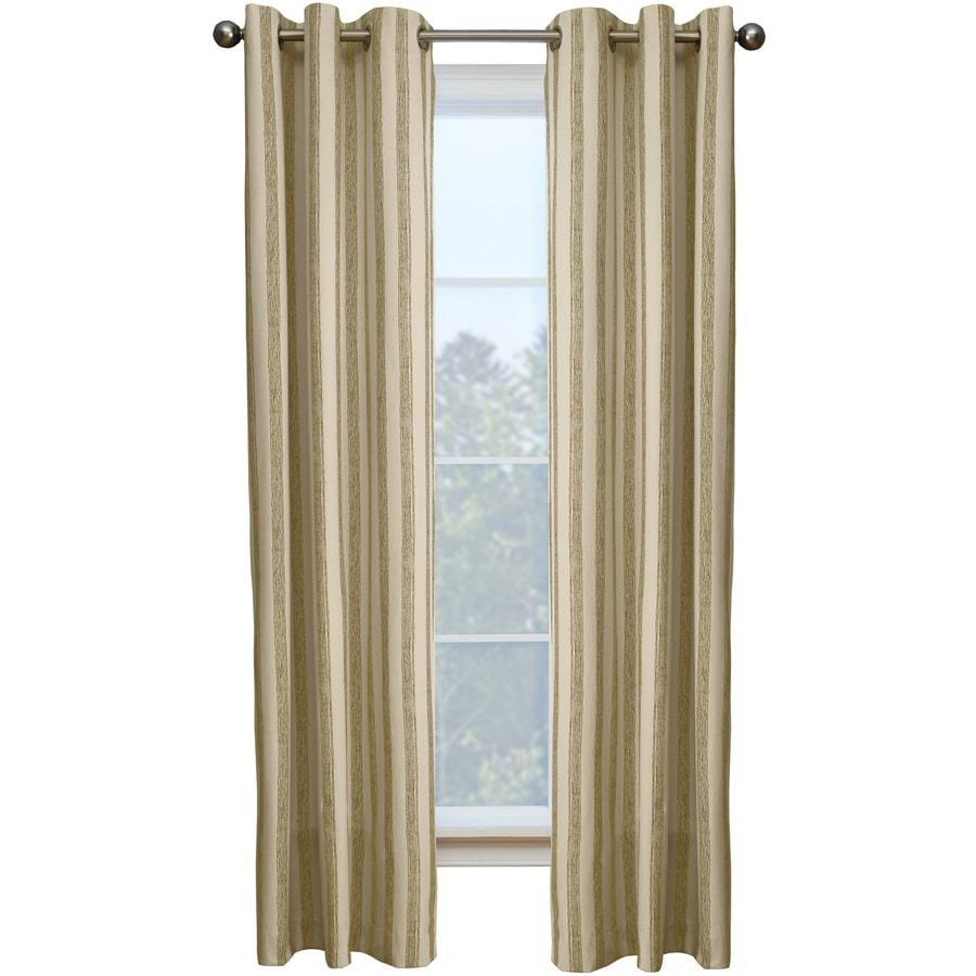 Style Selections Capulet 84-in Sand Cotton Grommet Single Curtain Panel