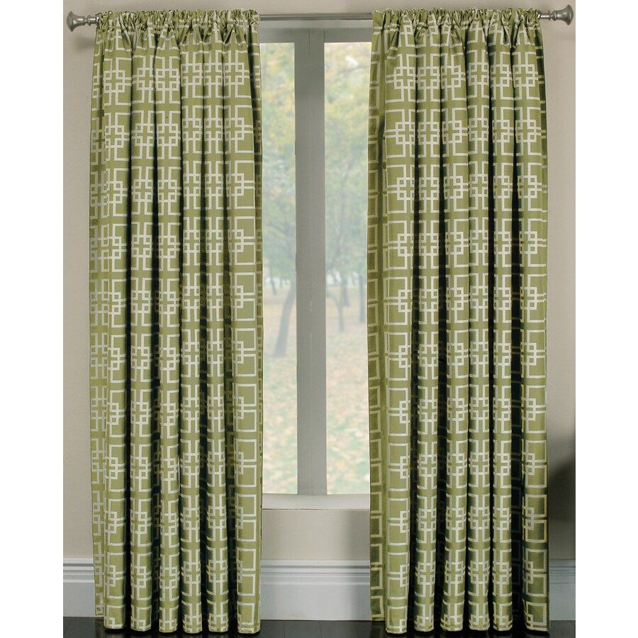 allen + roth Thaddeus 63-in Kiwi Polyester Rod Pocket Light Filtering Single Curtain Panel