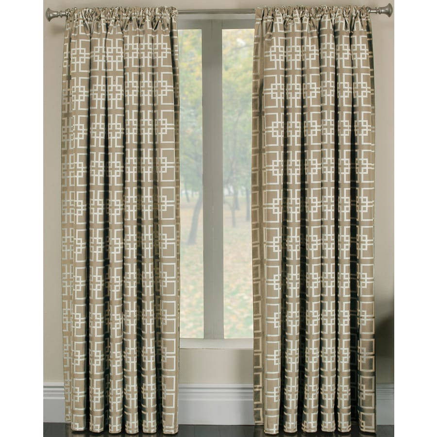 allen + roth Thaddeus 95-in Pearl Polyester Rod Pocket Light Filtering Single Curtain Panel