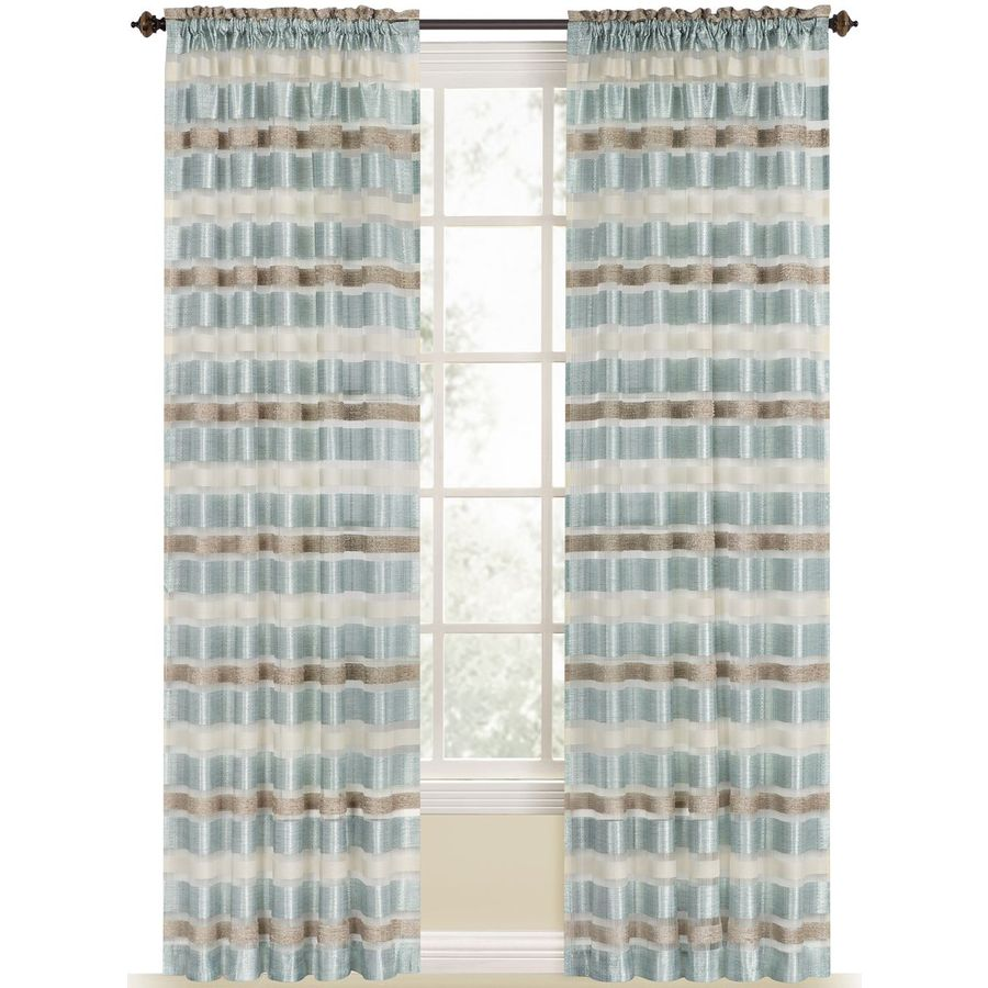 Style Selections Duran 84-in Mineral Blue Polyester Rod Pocket Light Filtering Sheer Single Curtain Panel