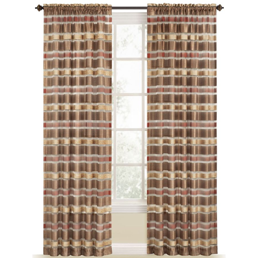 Style Selections Duran 84-in Brick Polyester Rod Pocket Light Filtering Sheer Single Curtain Panel