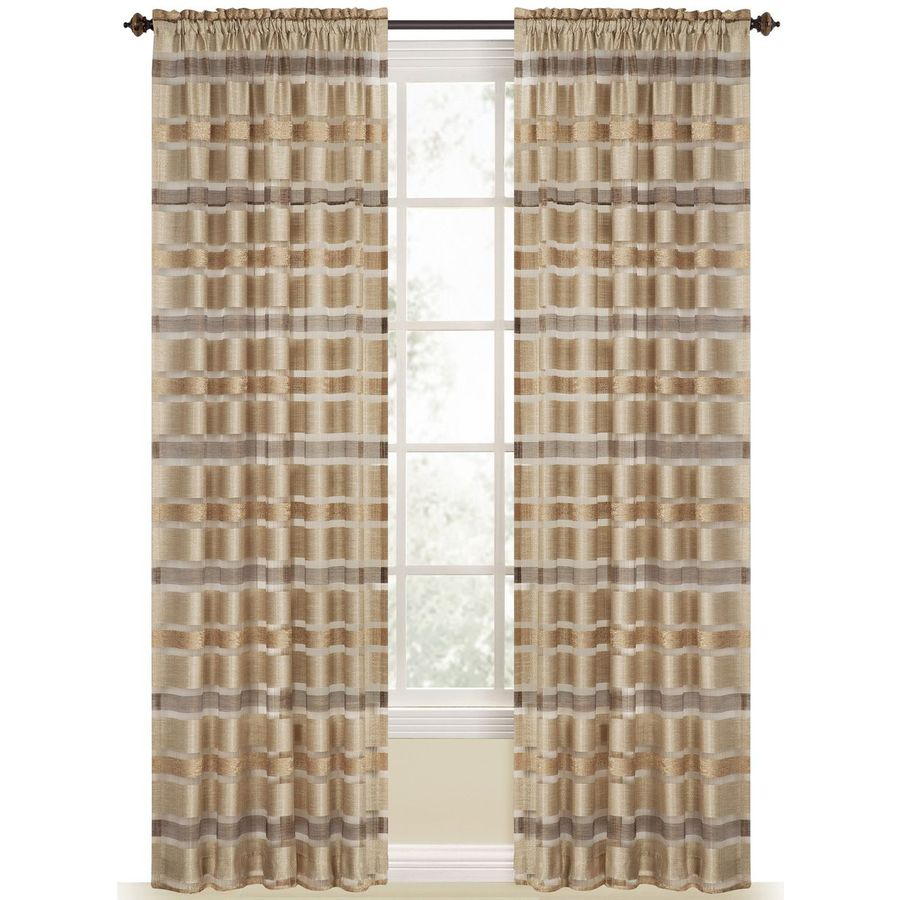 Style Selections Duran 84-in Straw Polyester Rod Pocket Light Filtering Sheer Single Curtain Panel