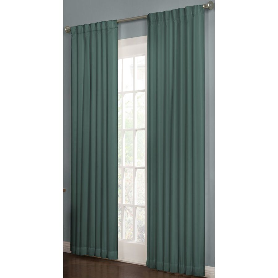 allen + roth Beeston 84-in Teal Polyester Back Tab Room Darkening Interlined Single Curtain Panel