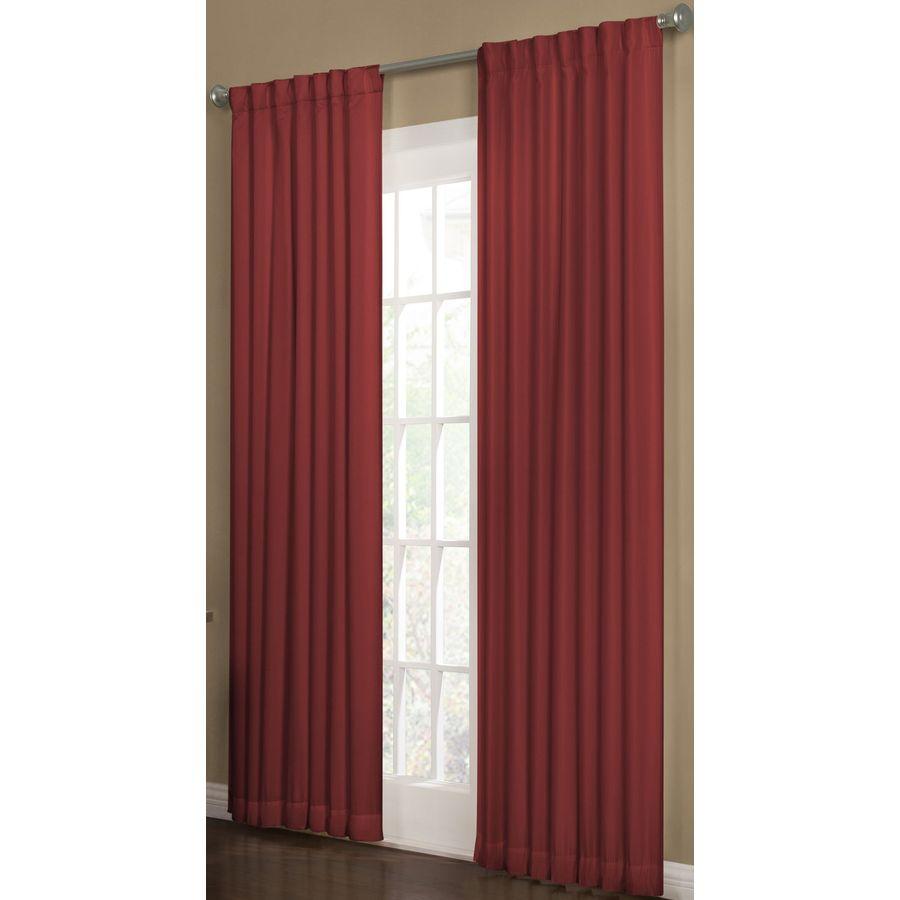 allen + roth Beeston 84-in Crimson Polyester Back Tab Room Darkening Interlined Single Curtain Panel