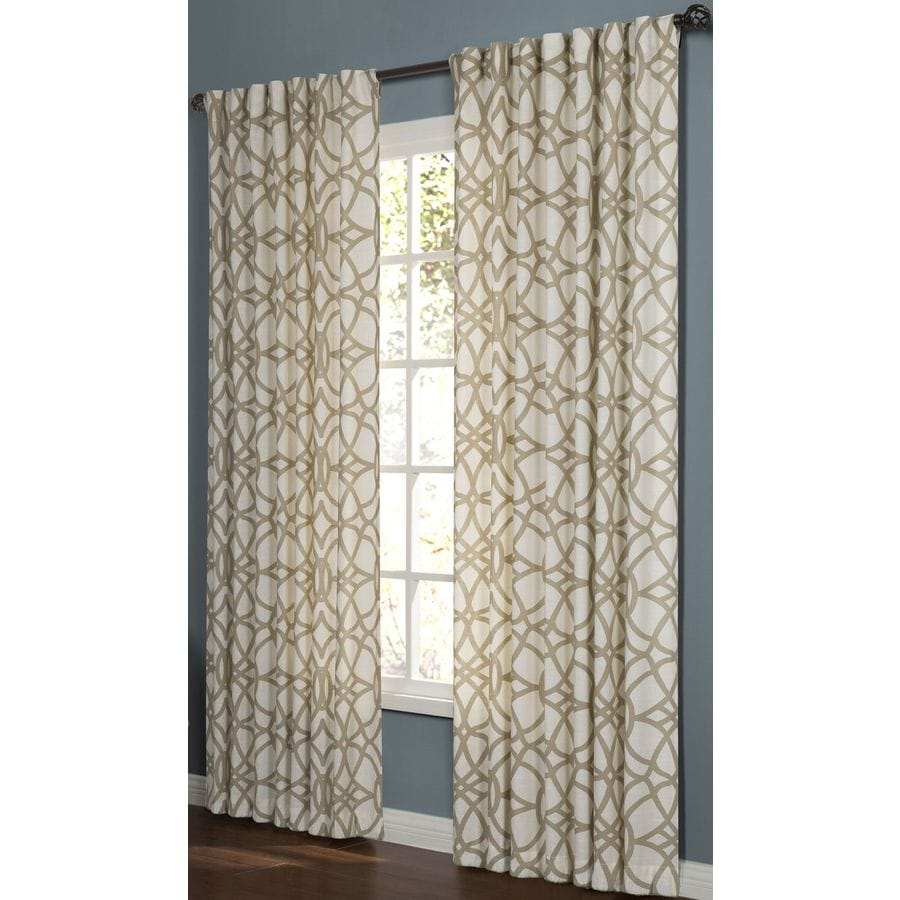 allen + roth Oberlin 95-in Straw Cotton Back Tab Light Filtering Single Curtain Panel
