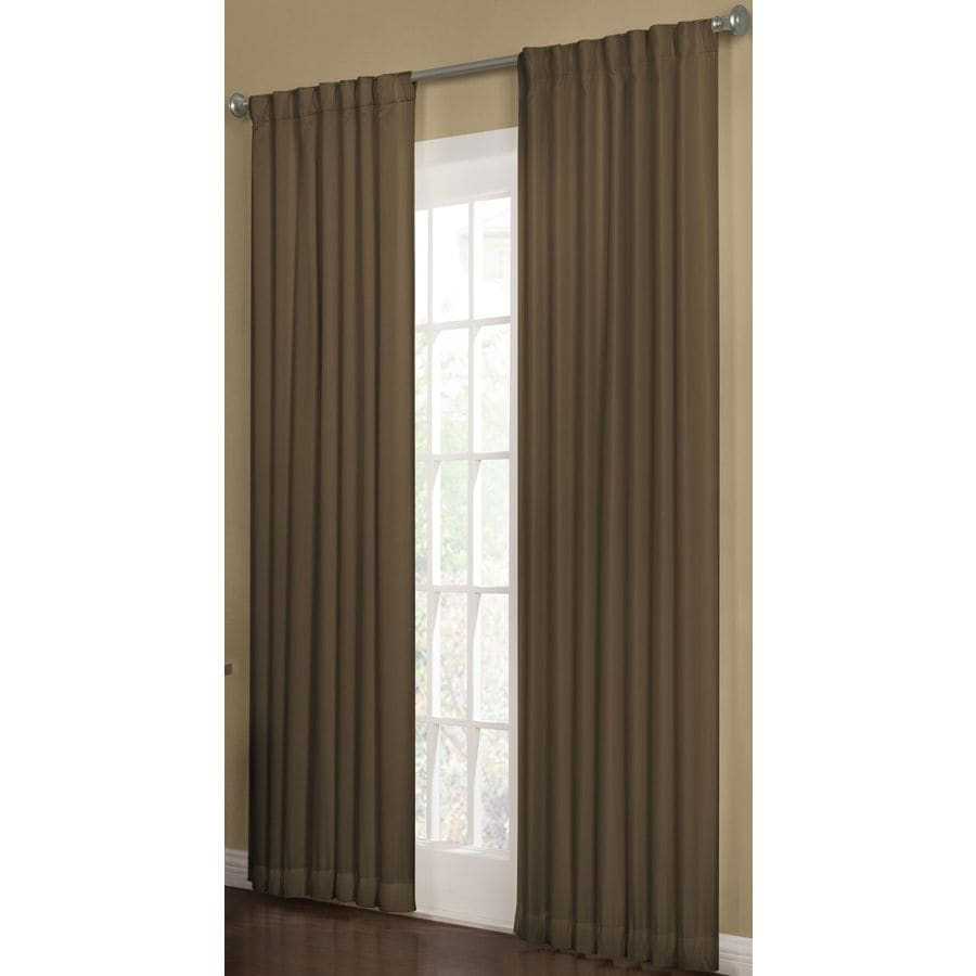 allen + roth Beeston 95-in Espresso Polyester Back Tab Room Darkening Interlined Single Curtain Panel