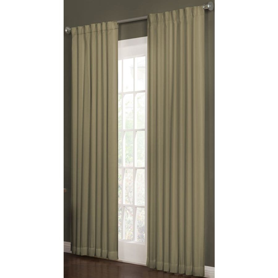 allen + roth Beeston 95-in Taupe Polyester Back Tab Room Darkening Interlined Single Curtain Panel