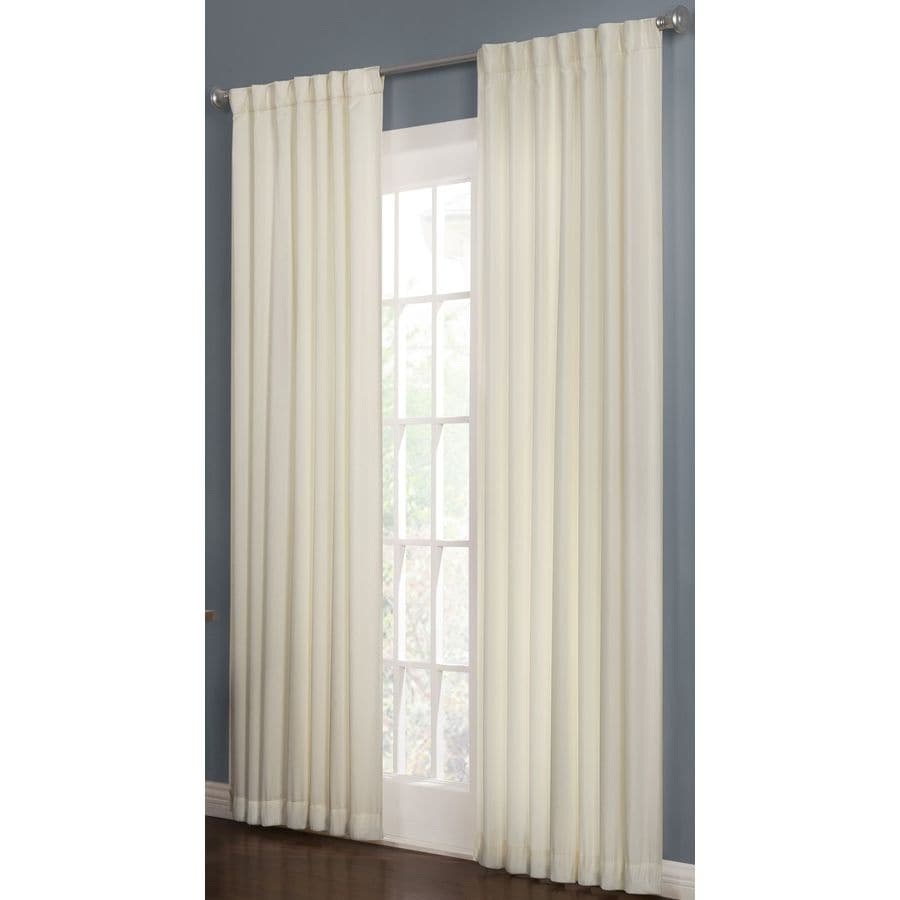 allen + roth Beeston 95-in Snow Polyester Back Tab Room Darkening Interlined Single Curtain Panel