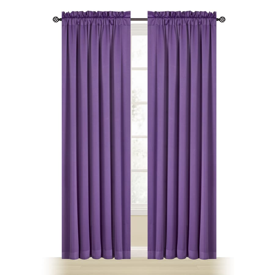 Style Selections Myla 84-in Purple Polyester Rod Pocket Room Darkening Single Curtain Panel