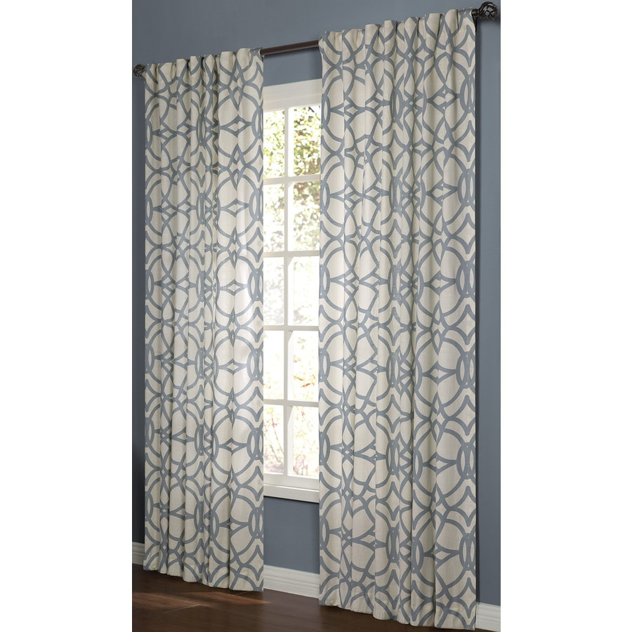 Allen Roth Oberlin 95 In Lt Blue Cotton Back Tab Light Filtering Single Curtain