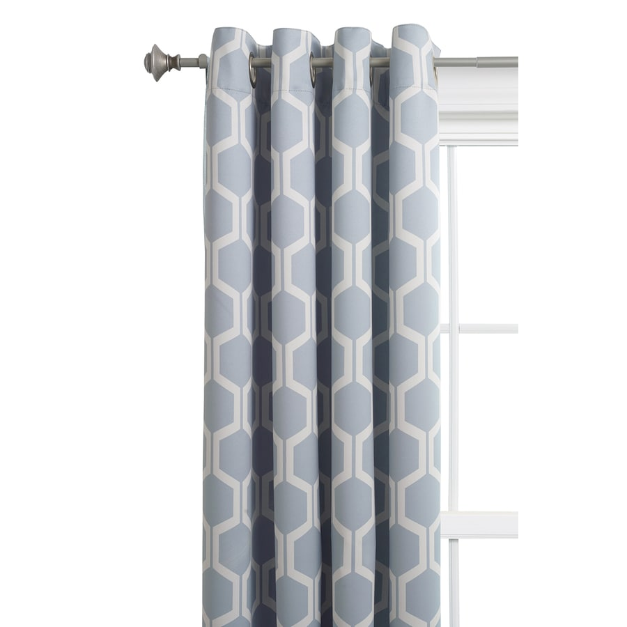 shop style selections quinn 84 in grey snow polyester grommet room darkening single curtain