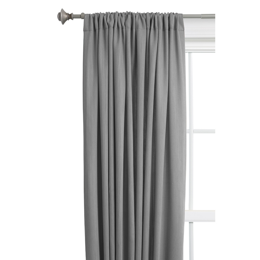 Style Selections Treyor 84-in Grey Cotton Rod Pocket Light Filtering Single Curtain Panel