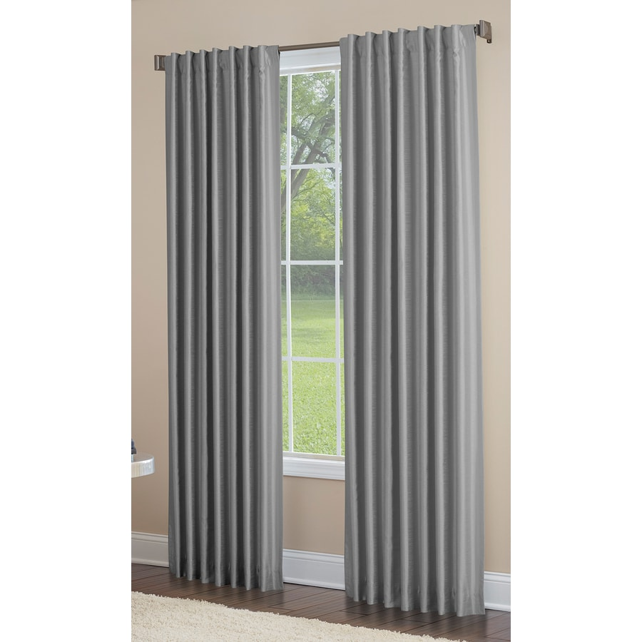 allen + roth Glenellen 84-in Coal Polyester Back Tab Light Filtering Standard Lined Single Curtain Panel