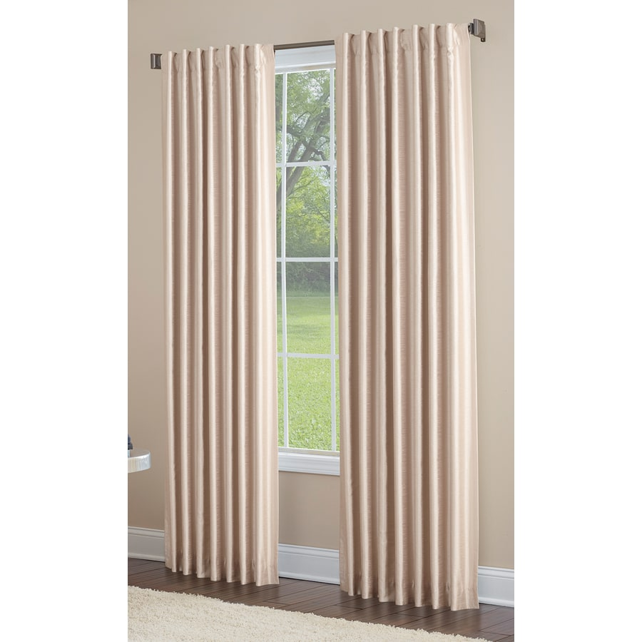 allen + roth Glenellen 95-in Sand Polyester Back Tab Light Filtering Standard Lined Single Curtain Panel