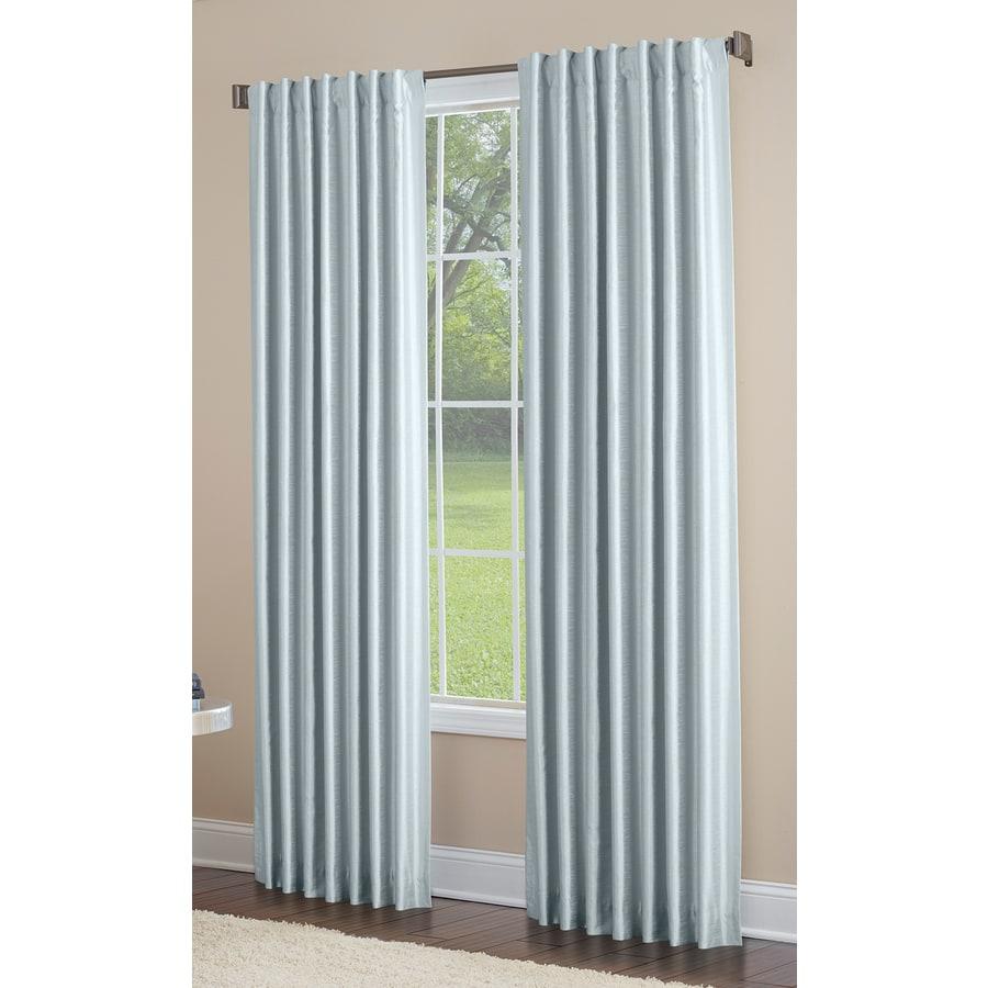 allen + roth Glenellen 95-in Blue Polyester Back Tab Light Filtering Standard Lined Single Curtain Panel