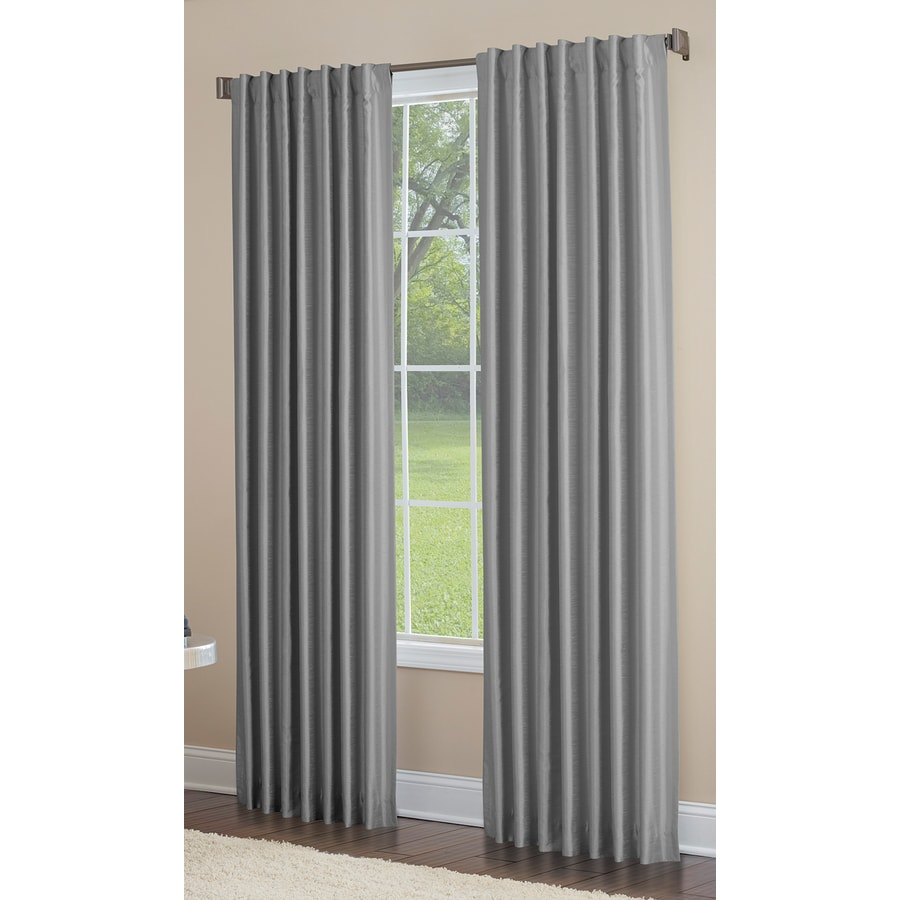 allen + roth Glenellen 63-in Coal Polyester Back Tab Light Filtering Single Curtain Panel