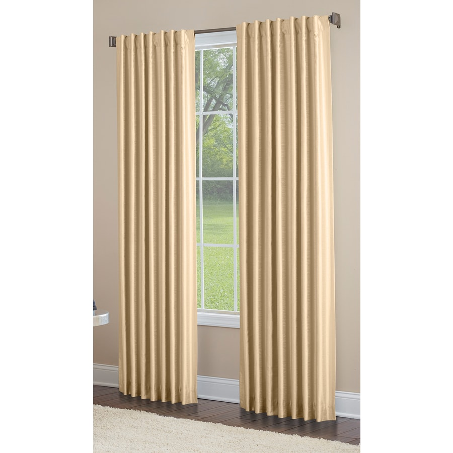 allen + roth Glenellen 63-in Gold Polyester Back Tab Light Filtering Single Curtain Panel