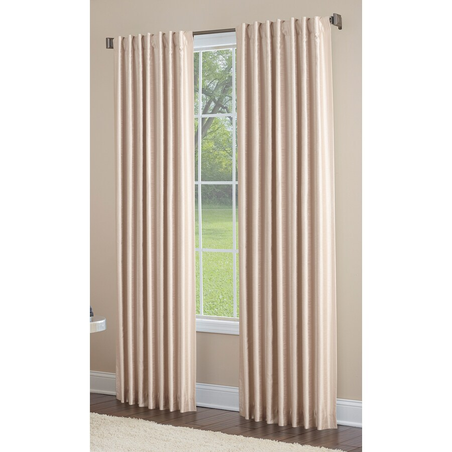 allen + roth Glenellen 63-in Sand Polyester Back Tab Light Filtering Standard Lined Single Curtain Panel