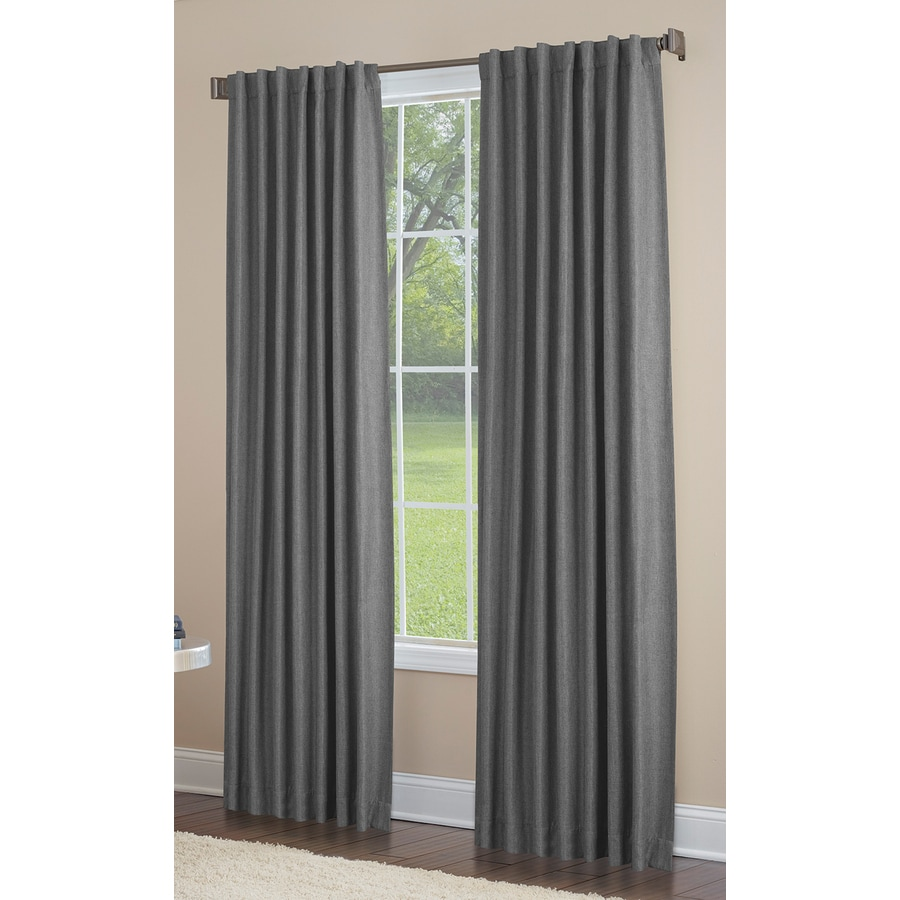 allen + roth Gatton 63-in Grey Polyester Back Tab Room Darkening Single Curtain Panel