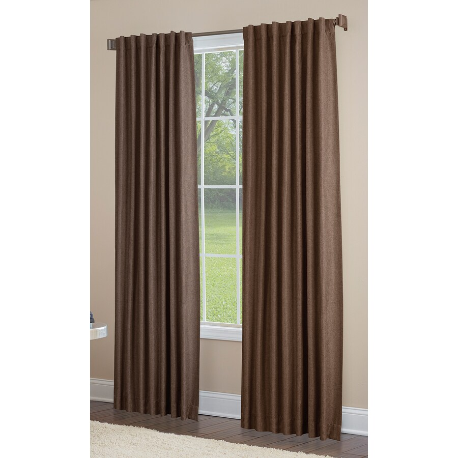 allen + roth Gatton 95-in Chocolate Polyester Back Tab Room Darkening Single Curtain Panel