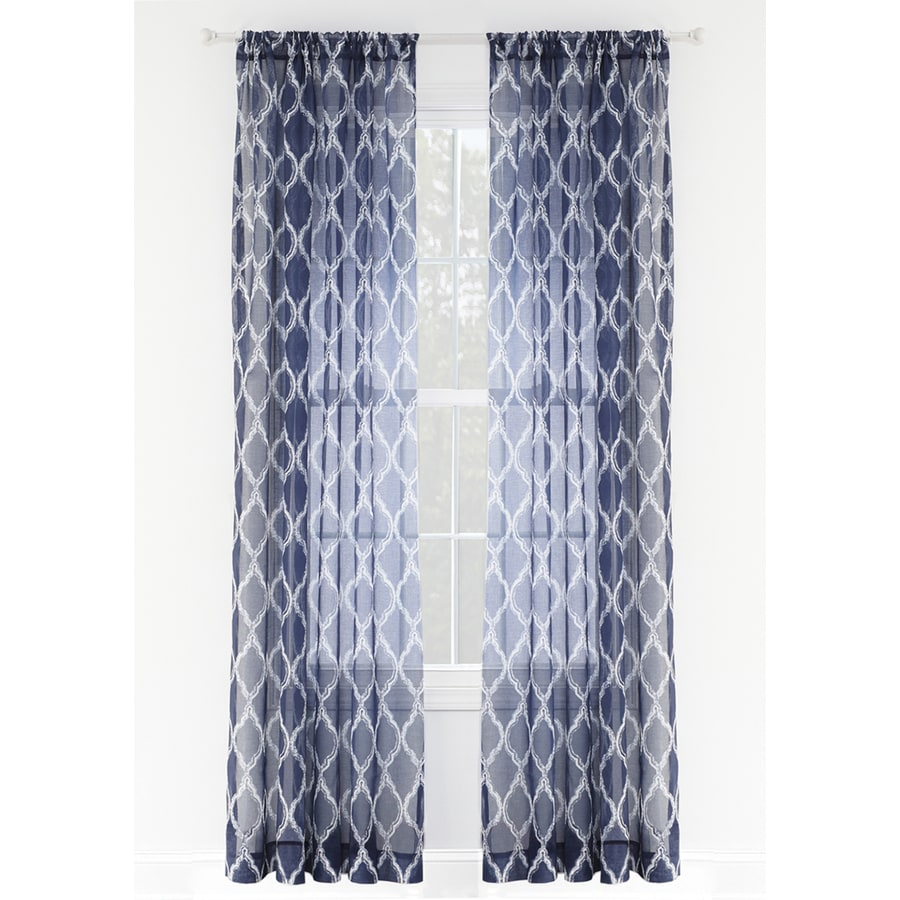 Style Selections Jareth 84-in Blue Polyester Rod Pocket Sheer Single Curtain Panel