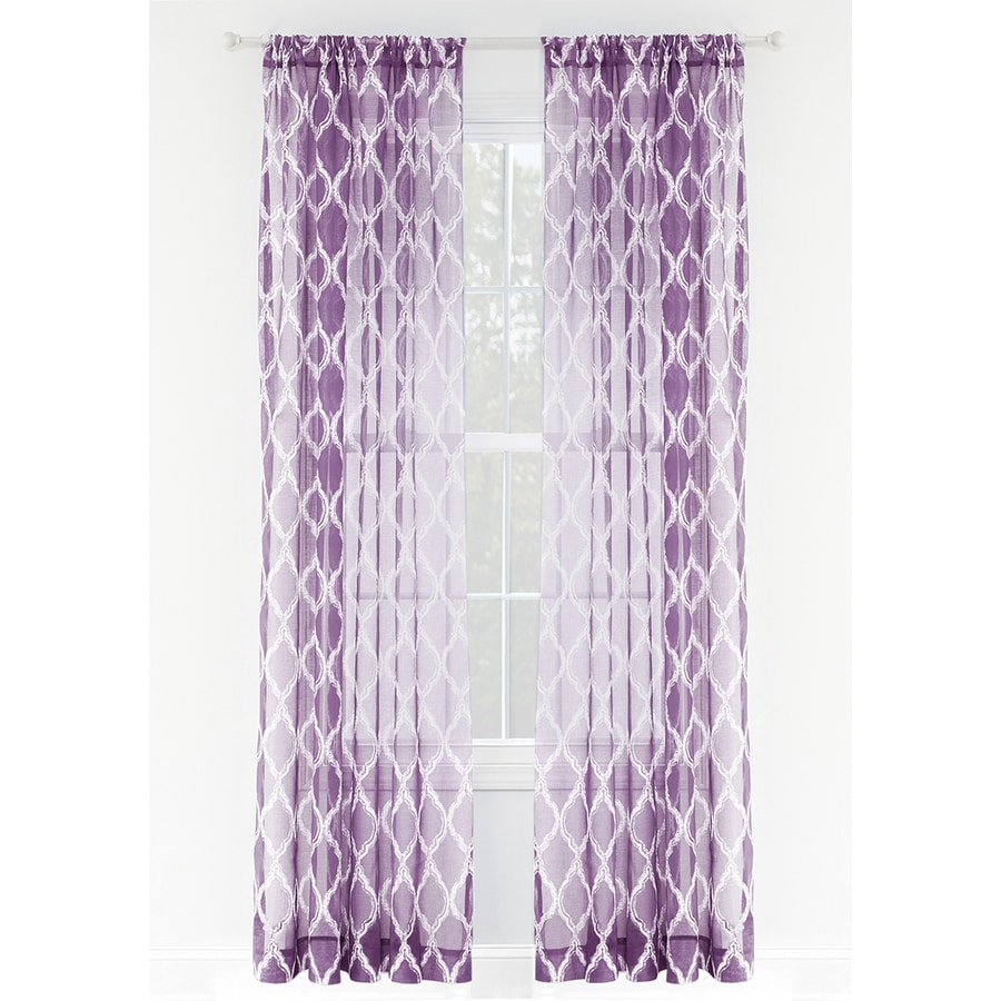 Style Selections Jareth 84-in Purple Polyester Rod Pocket Sheer Single Curtain Panel