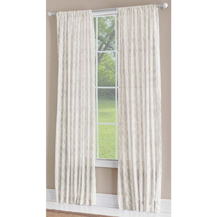allen + roth Birkbeck 63-in Neutral Polyester Rod Pocket Light Filtering Single Curtain Panel