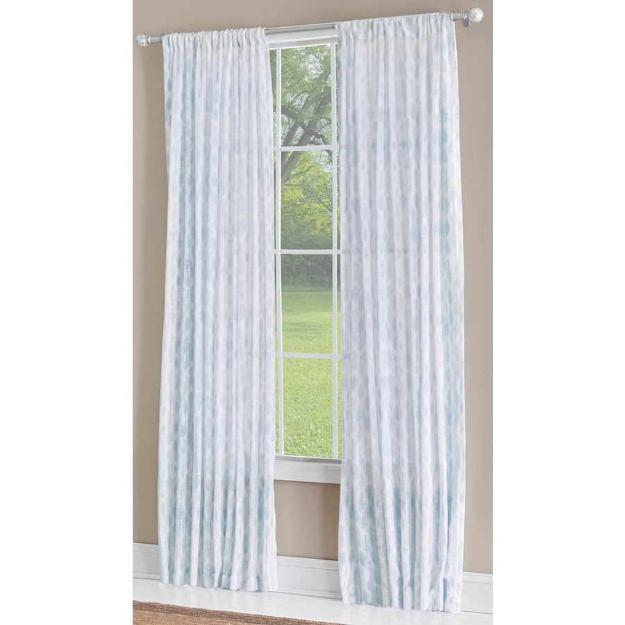 allen + roth Birkbeck 95-in Teal Polyester Rod Pocket Light Filtering Single Curtain Panel