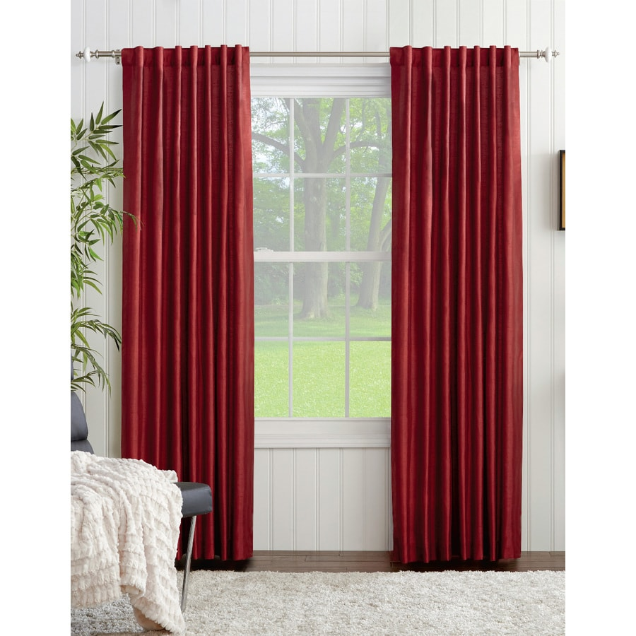 allen + roth Glenellen 95-in Red Polyester Back Tab Light Filtering Standard Lined Single Curtain Panel