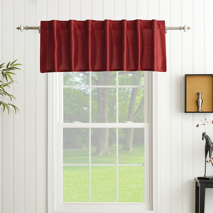 allen + roth Glenellen 18-in Red Polyester Back Tab Light Filtering Standard Lined Single Curtain Panel