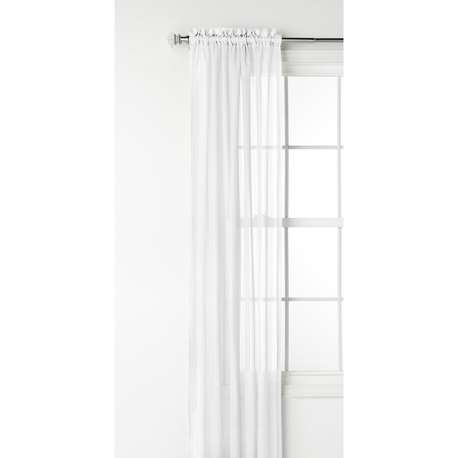 Style Selections Fillion 63-in White Polyester Rod Pocket Light Filtering Sheer Single Curtain Panel