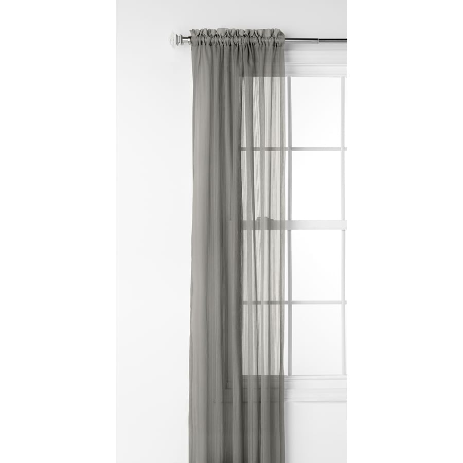Style Selections Fillion 63-in Grey Polyester Rod Pocket Light Filtering Sheer Single Curtain Panel