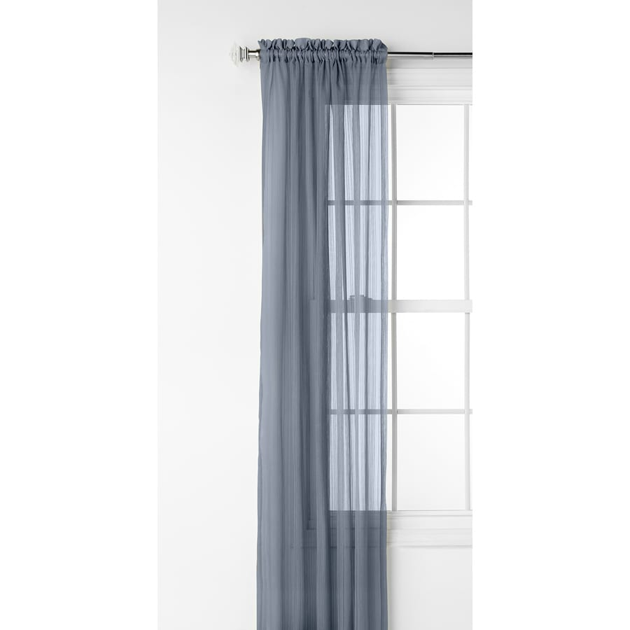 Style Selections Fillion 63-in Blue Polyester Rod Pocket Sheer Single Curtain Panel